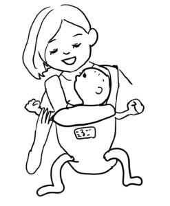 前向き抱っこをされてお母さんの顔を見上げる赤ちゃんイラスト